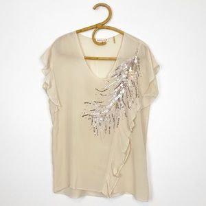 Rebecca Taylor   Sequin Embellished Ruffle Blouse